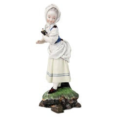 'Girl with Bonnet' Porcelain Figurine by Melchior, Höchst, 1770-1774