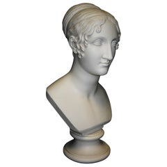Girl with Pleated Hair Marble Bust, 20th Century