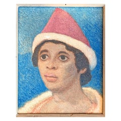 """Girl with Red Hat,"" Brilliantly-Hued Portrait in Blue and Red by Julius Bloch"
