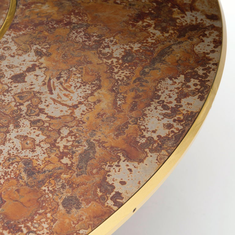 Modern Giro Circular Rotating Dining Table, Treated Iron and Brass by Mario Milana For Sale