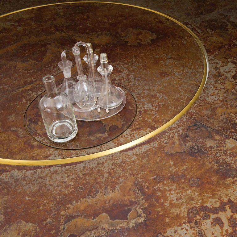 Forged Giro Circular Rotating Dining Table, Treated Iron and Brass by Mario Milana For Sale