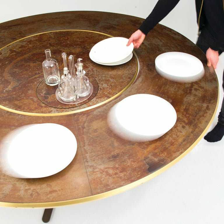 Giro Circular Rotating Dining Table, Treated Iron and Brass by Mario Milana In New Condition For Sale In Brooklyn, NY