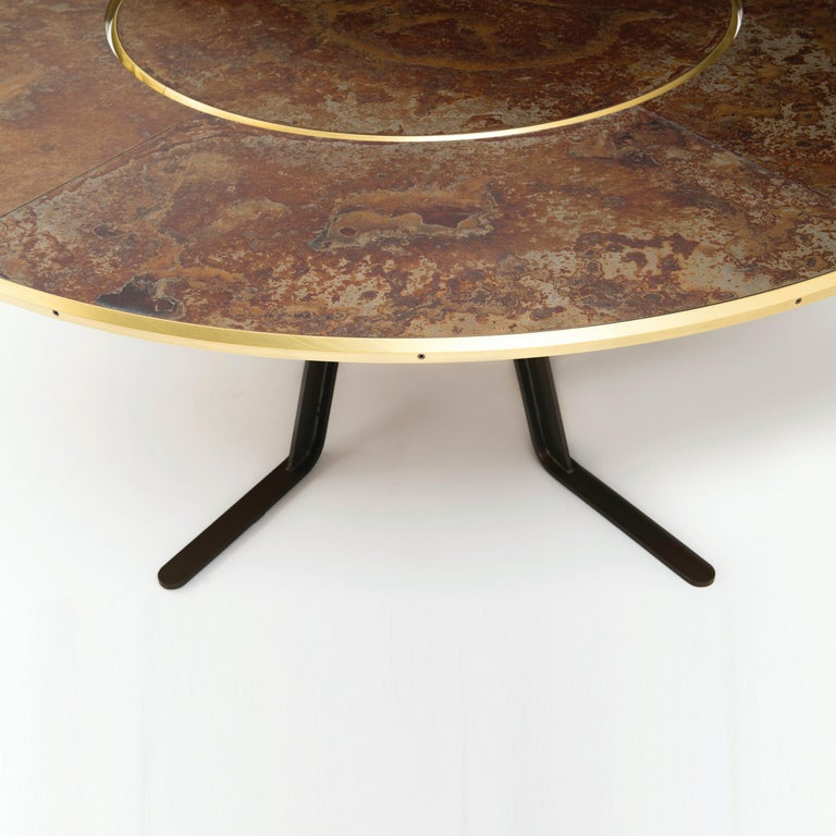 Contemporary Giro Circular Rotating Dining Table, Treated Iron and Brass by Mario Milana For Sale