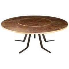 Giro Circular Rotating Dining Table, Treated Iron and Brass by Mario Milana