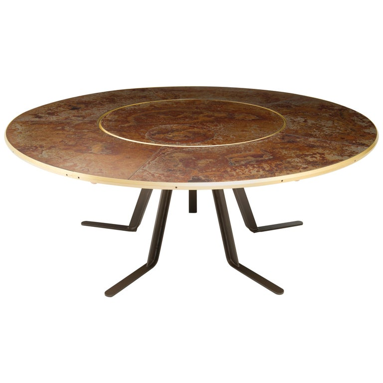 Giro Circular Rotating Dining Table, Treated Iron and Brass by Mario Milana For Sale
