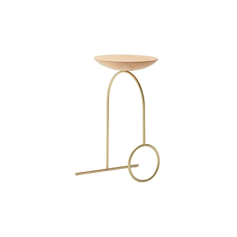 Viccarbe Giro Sculptural Table, Matt Oak and Brass Finish by Pedro Paulo Venzón