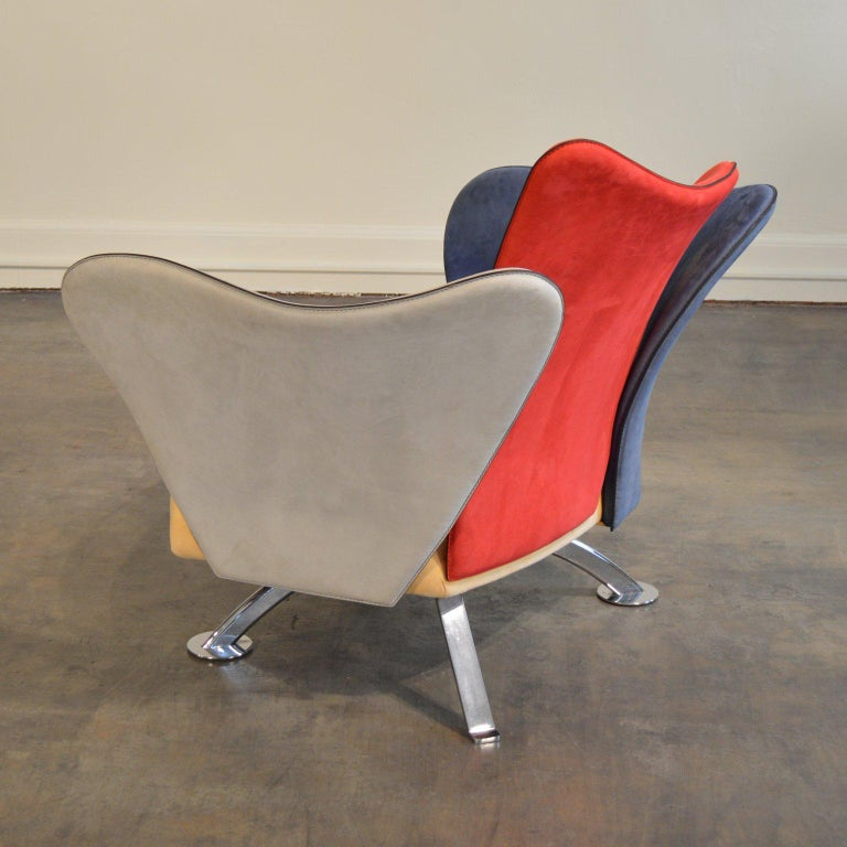 Giorgio Saporiti Post-Modern Suede Flower Chair by Il Loft In Good Condition For Sale In Portland, ME