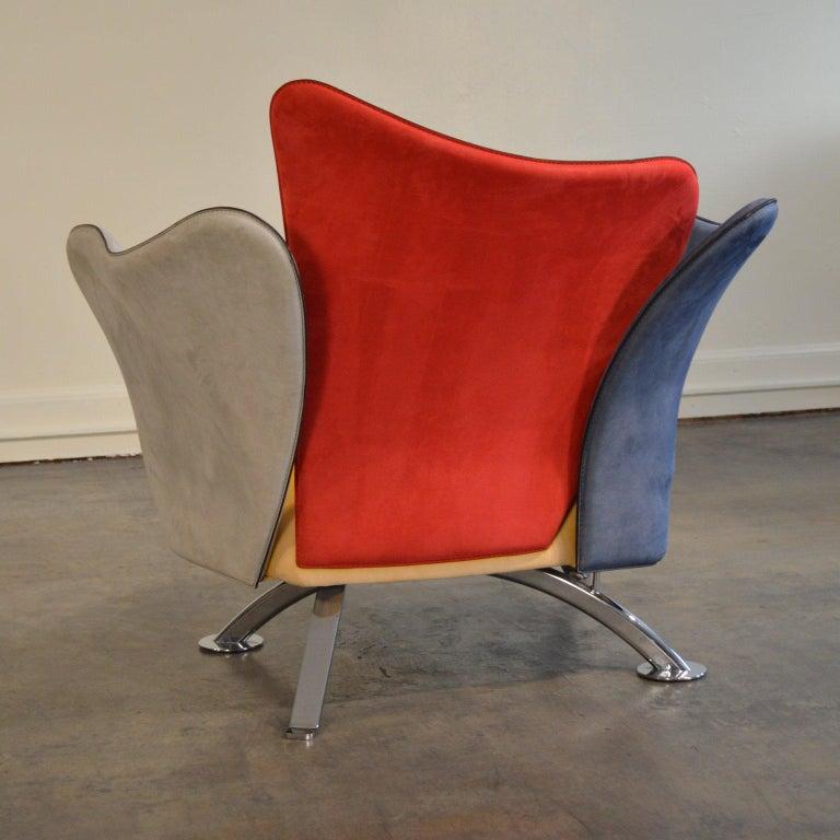 20th Century Giorgio Saporiti Post-Modern Suede Flower Chair by Il Loft For Sale