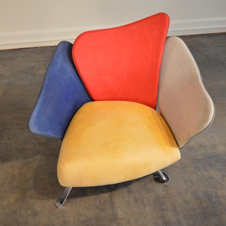 Giorgio Saporiti Post-Modern Suede Flower Chair by Il Loft For Sale 1