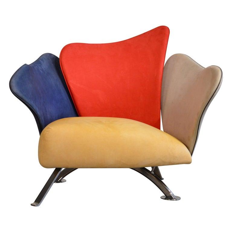 Giorgio Saporiti Post-Modern Suede Flower Chair by Il Loft For Sale