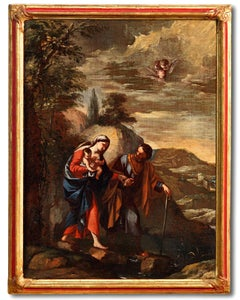 Holy Family Paint Oil on canvas 17th Century Art Italy Roma Landscape Quality