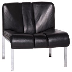 Girsberger Eurochair 1200 Designer Leather Armchair Black Hans Eichenberger