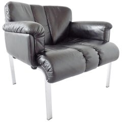 Girsberger Eurochair Black Leather Lounge Chair, Swiss made, Mid-Century modern