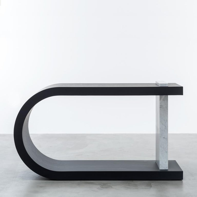 Modern Gisele Console Table Bleached White Oak For Sale