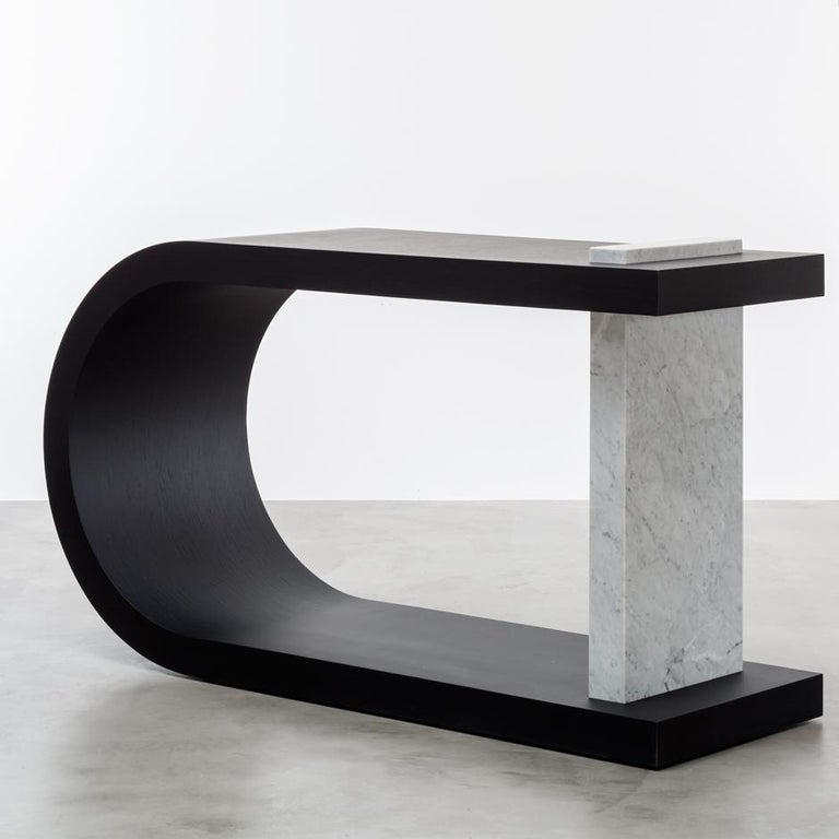American Gisele Console Table Bleached White Oak For Sale