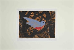 Bird in the Branches - Original Woodcut Print by G. Halff - Mid-20th Century