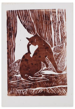 Le Chat (The Cat) - Original Woodcut Print by G. Halff