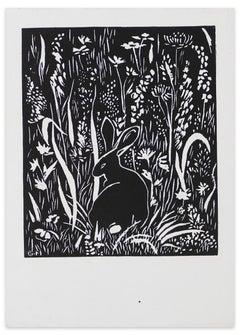 Le Lapin (The Rabbit) - Original Woodcut Print by G. Halff