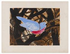 Oiseau Bleu - Original Woodcut Print by G. Halff - Late 1900