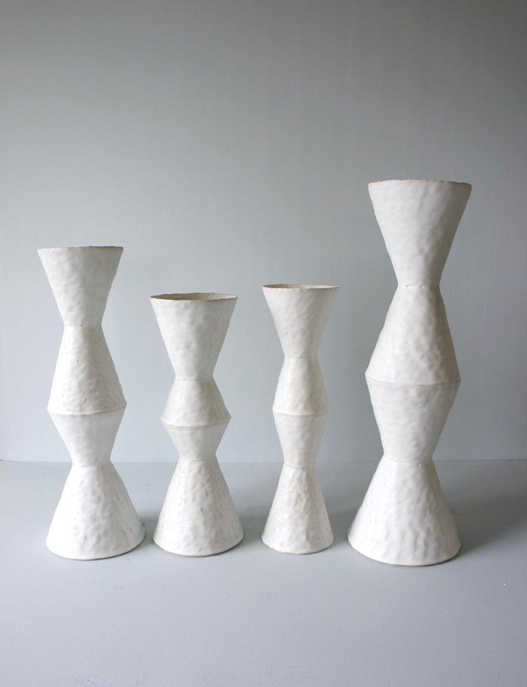 Glazed Giselle Hicks Contemporary White Ceramic Vase, 2019 For Sale