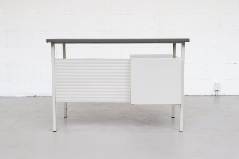 Gispen 3803 Industrial Desk with Privacy Screen In Good Condition For Sale In Los Angeles, CA