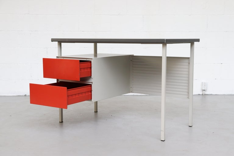 Metal Gispen 3803 Industrial Desk with Privacy Screen For Sale