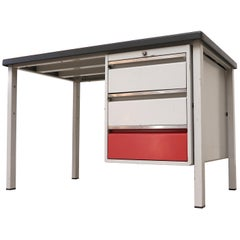 Gispen Industrial Desk with Red and White Drawers