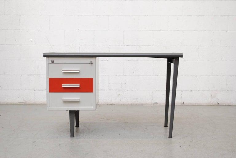Mid-Century Modern Gispen Industrial Metal Desk For Sale