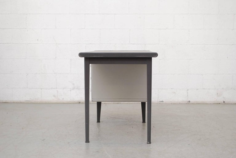 Dutch Gispen Industrial Metal Desk For Sale