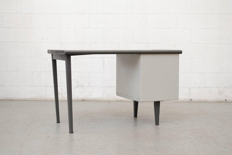 Enameled Gispen Industrial Metal Desk For Sale