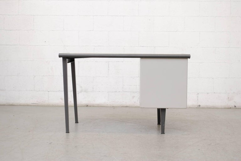 Gispen Industrial Metal Desk In Good Condition For Sale In Los Angeles, CA