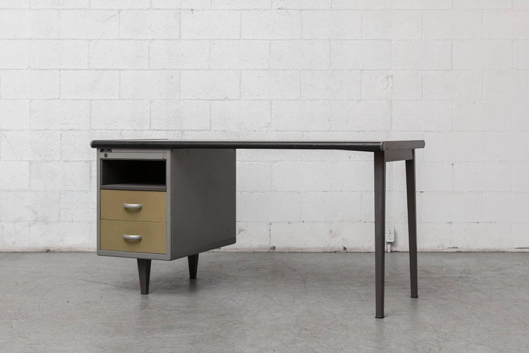 Rare Gispen Desk With Mustard Drawers And An Upper Cubby Grey Enameled Metal Frame