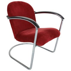 Gispen M-414 Chrome & Red Rib Fabric Easy Lounge, Armchair by W.H. Gispen, 1935