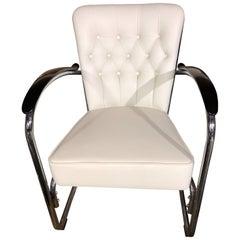 Gispen White Leather Cantilever Tubular Steel Easy Chair