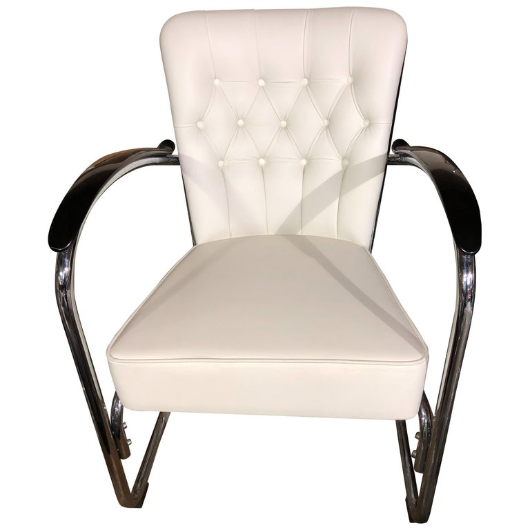 Gispen White Leather Cantilever Tubular Steel Easy Chair For Sale