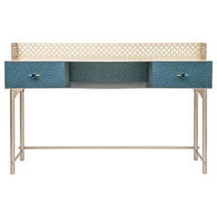 Gita Luxury Make Up Console, Metal Structure, Jewel Handles, Wooden Drawer