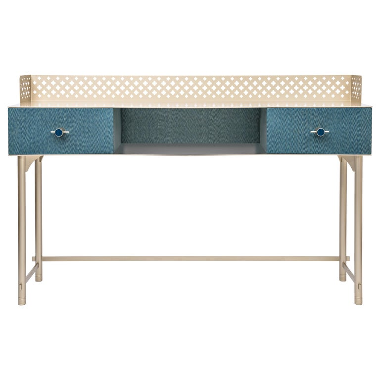 Gita Luxury Make Up Console, Metal Structure, Jewel Handles, Wooden Drawer For Sale