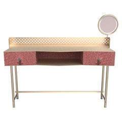 Gita Luxury Make Up Console, Metal Structure, Wooden Drawer Magnifying Mirror