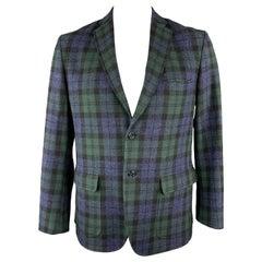 GITMAN BROS Size 42 Green & Blue Plaid Wool Notch Lapel Patch Pockets Sport Coat