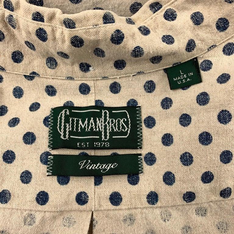 GITMAN VINTAGE Size L Beige & Navy Dot Print Cotton / Linen Long Sleeve Shirt For Sale 1
