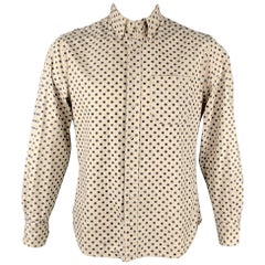 GITMAN VINTAGE Size L Beige & Navy Dot Print Cotton / Linen Long Sleeve Shirt