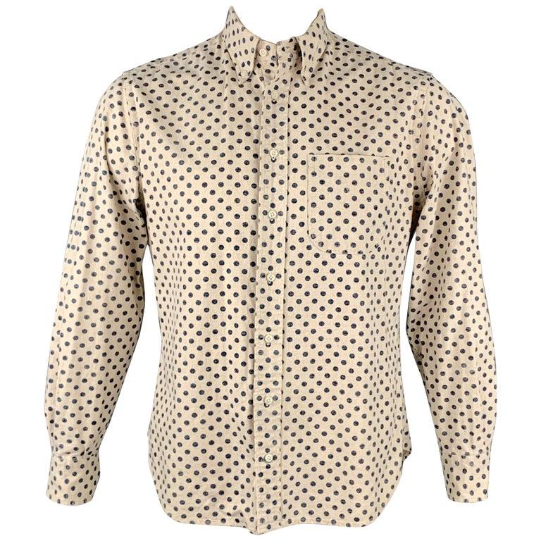 GITMAN VINTAGE Size L Beige & Navy Dot Print Cotton / Linen Long Sleeve Shirt For Sale