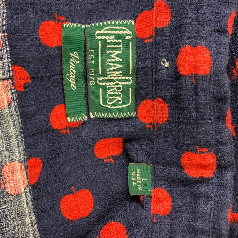Men's GITMAN VINTAGE Size L Navy & Red Apple Print Cotton Button Down Shirt For Sale