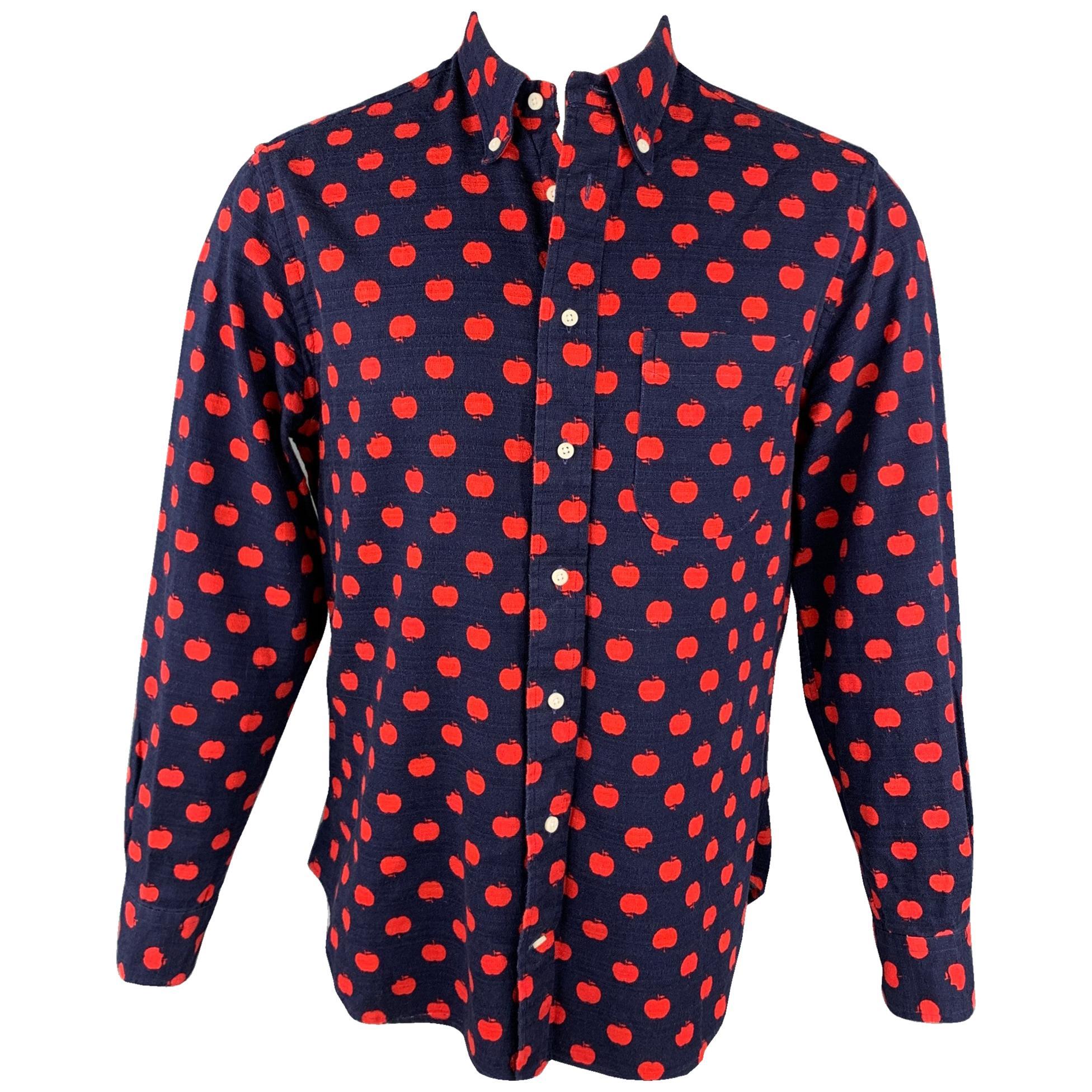 GITMAN VINTAGE Size L Navy & Red Apple Print Cotton Button Down Shirt