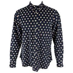 GITMAN VINTAGE Size L Navy & White Floral Cotton Button Down Long Sleeve Shirt
