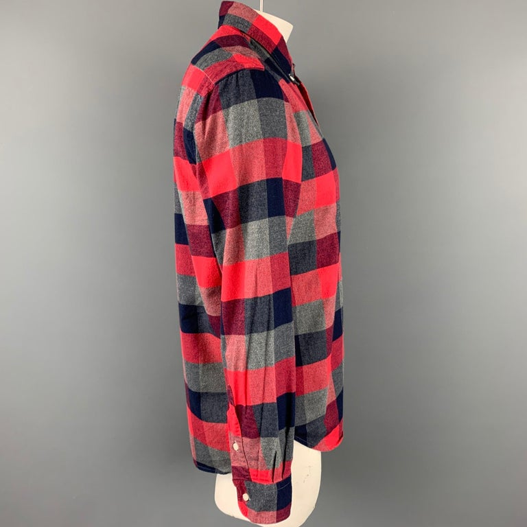 GITMAN VINTAGE long sleeve shirt comes in a red & grey plaid cotton featuring a button down style and a front patch pocket. Made in USA.  Very Good Pre-Owned Condition. Marked: L  Measurements:  Shoulder: 19 in. Chest: 42 in. Sleeve: 26 in. Length: