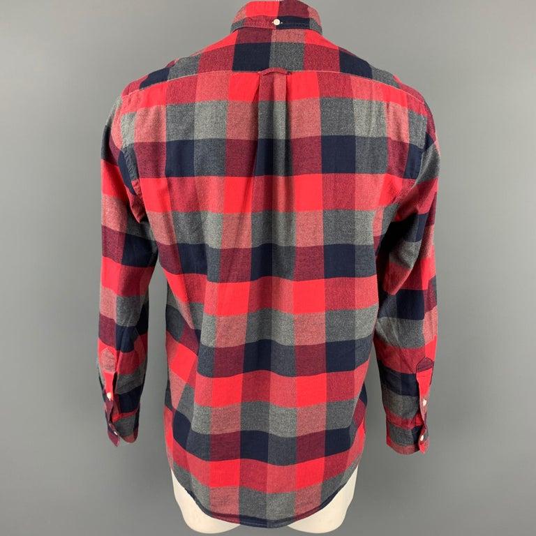 Gray GITMAN VINTAGE Size L Red & Grey Plaid Cotton Long Sleeve Shirt For Sale