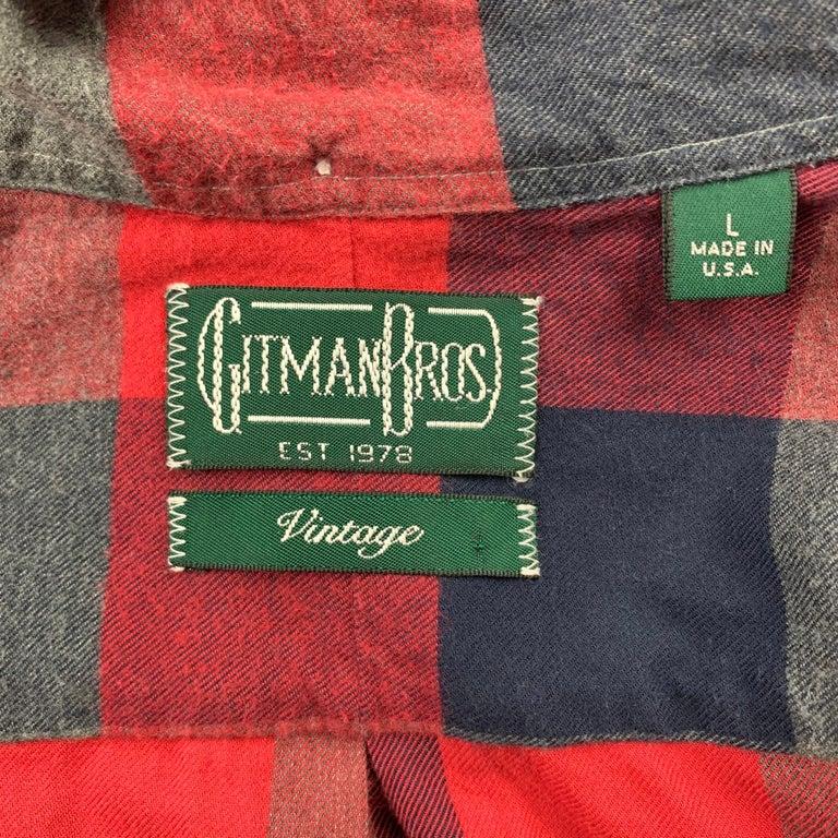 Men's GITMAN VINTAGE Size L Red & Grey Plaid Cotton Long Sleeve Shirt For Sale