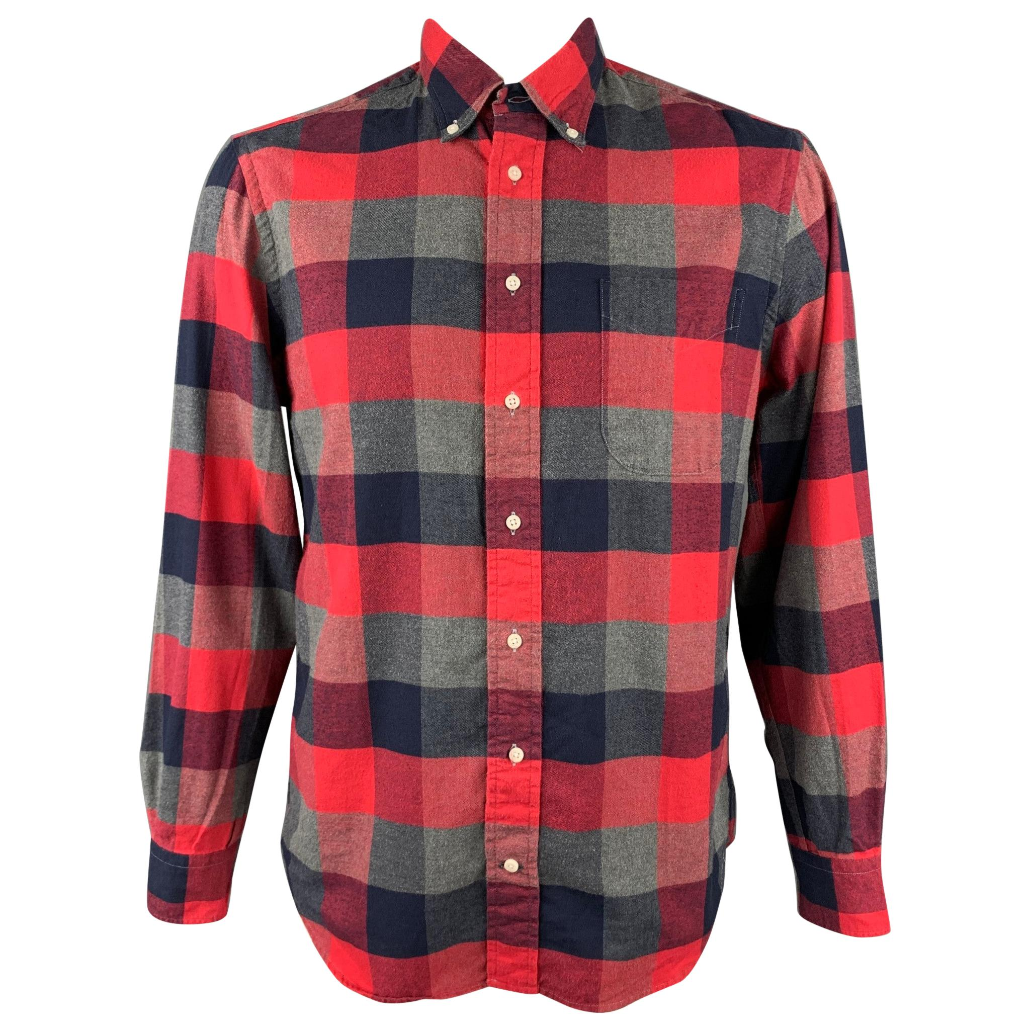 GITMAN VINTAGE Size L Red & Grey Plaid Cotton Long Sleeve Shirt