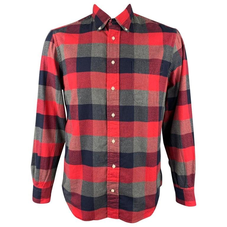 GITMAN VINTAGE Size L Red & Grey Plaid Cotton Long Sleeve Shirt For Sale
